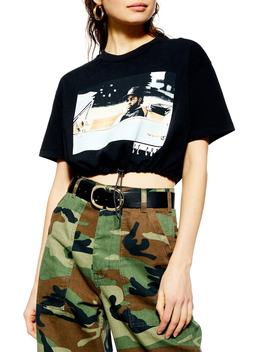 Ice Cube Crop Drawstring Tee by Topshop
