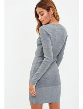 Gray Hook Eye Knitted Bodycon Dress by Missguided