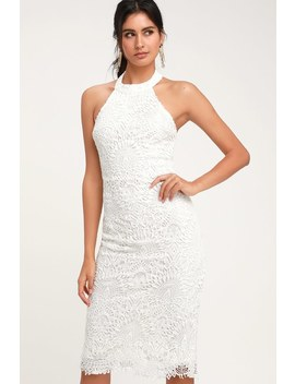 Lucky In Lace White Lace Halter Bodycon Midi Dress by Lulus