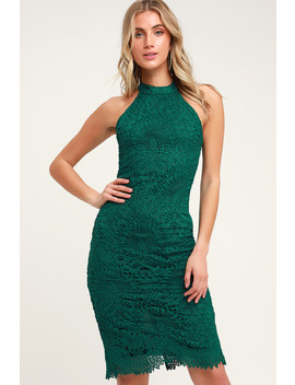 Lucky In Lace Forest Green Lace Halter Bodycon Midi Dress by Lulus