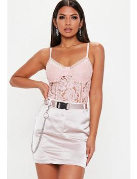 Pink Sports Tape Lace Cami Top by Missguided