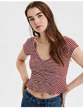 Ae Striped Cinch Front Peplum V Neck Tee by American Eagle Outfitters