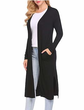 Women's Long Sleeve Open Front Drape Duster Maxi Long Cardigan With Side Slits by Locryz