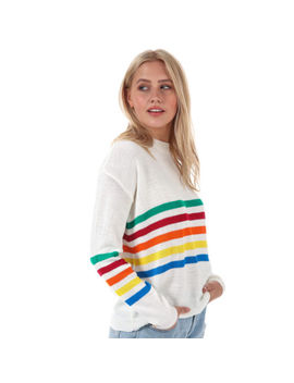 Womens Daisy Street Rainbow Stripe Jumper In Cream by Daisy Street