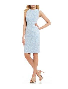 Printed Jacquard Sleeveless Sheath Dress by Calvin Klein