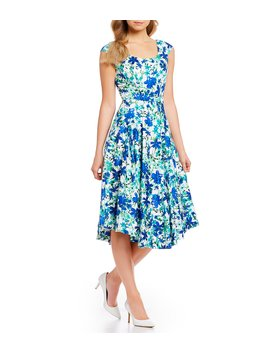 Floral Print Cap Sleeve Fit And Flare Midi Dress by Calvin Klein