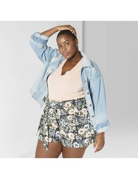 Women's Plus Size Floral Print High Waist Paper Bag Shorts   Wild Fable™ Hematite Gray by Wild Fable