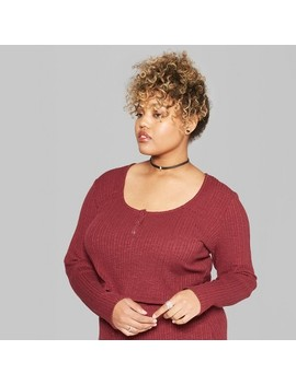 Women's Plus Size Long Sleeve Rib Henley Set Top   Wild Fable™ Burgundy by Wild Fable