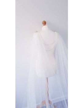 White Bridal Cape With 2 Layer Bridal Back Chain With Veil Drape For Wedding Dress Gown With Brooch And Bridal Backdrop Back Chain Backdrape by Etsy