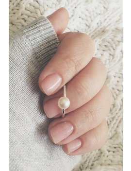 Large Pearl On A Smooth Round Stacking Ring, 6mm Pearl Ring, Freshwater Pearl, Pearl Soitaire Ring, Stacker, Sterling Silver, Stacking Ring by Etsy