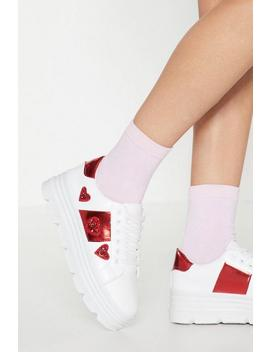 Down To A Fine Heart Platform Sneaker by Nasty Gal