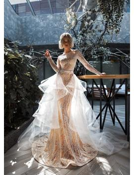 Light Blush Ivory Wedding Dress Sleeves Lace Train Embroidered Tulle Gown Dress Bohemian Corset Open Cut Lace Transparent Illusion Beach by Etsy