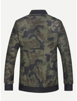Men Zip Decoration Camo Jacket by Sheinside