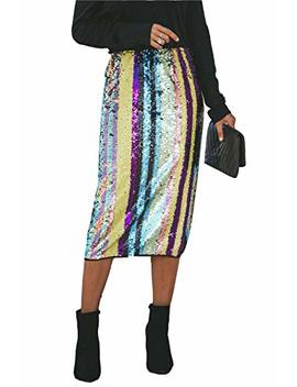 Marco Judy Womens Rainbow Striped Tie Dye High Waist Bodycon Midi Pencil Skirt by Marco Judy