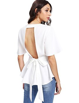 Romwe Women's Sexy Backless Knot Back Top Peplum Ruffle Blouse by Romwe