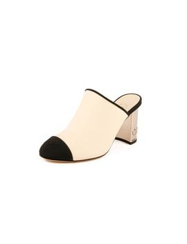 Leather &Amp; Grosgrain Cap Toe Cc Mules   Ivory / Black by Chanel