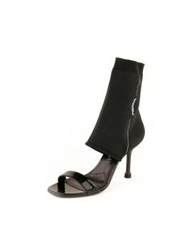 Patent Leather &Amp; Sock Knit Fabric Sandal Pumps   Black by Prada