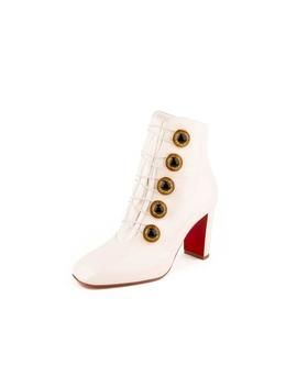 Lady See 85 Patent Leather Button &Amp; Lace Up Ankle Boots   White by Christian Louboutin