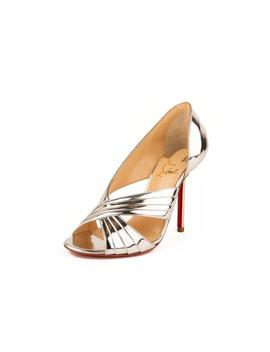 Drapa Notta 100 Metallic Patent Leather Pumps   Silver by Christian Louboutin