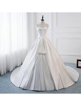 High Quality Silk Satin Wedding Princess Dress With Bow Wedding Dress Simple Elegant Wedding Long Train Wedding Dress Ivory Classic Bride by Etsy