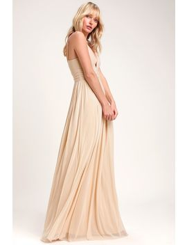 Queen Of The Evening Cream Maxi Dress by Lulus