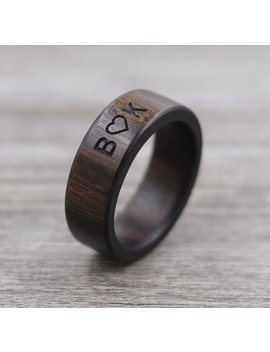 Macassar Ebony Wood Ring   Engraved Wood Ring   Unique Wedding Ring   Wedding Ring   Wooden Ring   Mens Jewelry   5 Year Anniversary by Etsy