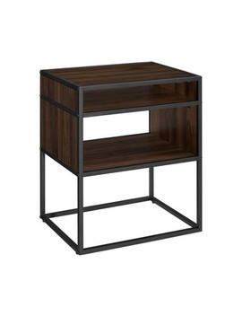 "20"" Metal And Wood Side Table With Open Shelf   Saracina Home by Saracina Home"