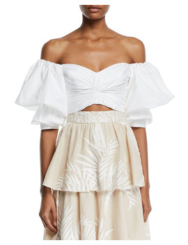 Pearl City Off The Shoulder Bow Back Puff Sleeve Crop Top by Johanna Ortiz