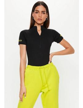 Black High Neck Zip Front Slogan Bodysuit by Missguided