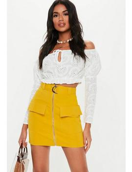 Mustard D Ring Pocket Detail Mini Skirt by Missguided