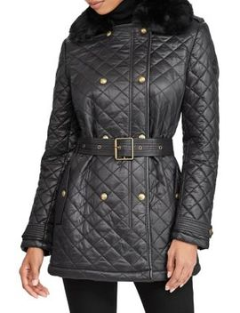 Faux Fur Trimmed Quilted Belted Jacket by Lauren Ralph Lauren