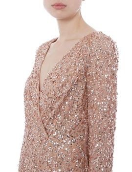Long Sleeve Sequin Dress by Adrianna Papell