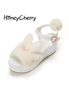 Japan's New Lolita Sweet Rabbit Summer Sandals Womens Shoes High Heeled Muffin Bottom Thick Lolita Shoes Platform Sandals by Honey Cherry