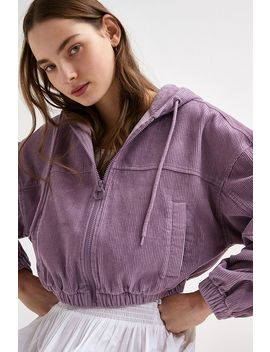 Uo Lilac Corduroy Hooded Crop Jacket by Urban Outfitters