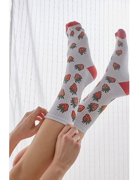 Uo Strawberry Print Socks by Urban Outfitters