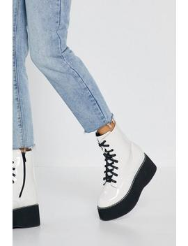 Move Up A Gear Platform Patent Boots by Nasty Gal