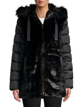 Plus Packable Puffer Faux Fur Jacket by Via Spiga