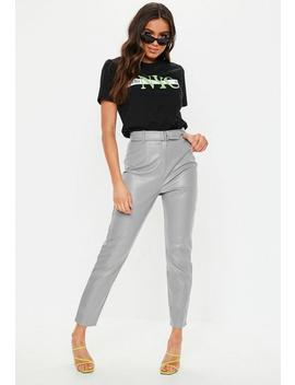 Grey Faux Leather Belted Cigarette Pants by Missguided