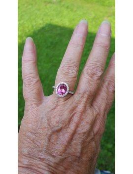 Pink Topaz Ring Size 7 1/2 1980's Dark Genuine Natural 2.5ct Pink Topaz Halo Ring Estate 14k White Gold Vermeil Sterling Ring by Etsy