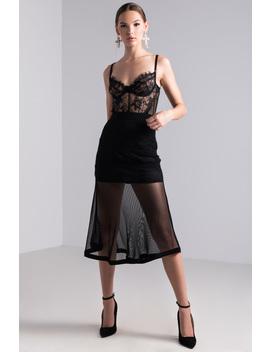 Sheer Glamour Mesh Midi Skirt by Akira