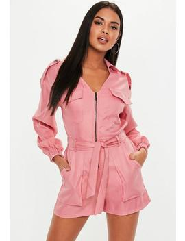 Pink Utility Belted Romper by Missguided