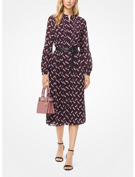 Chevron Georgette Belted Shirtdress by Michael Michael Kors