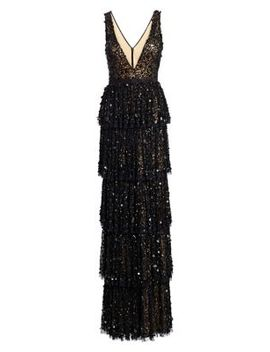 Sequined Tiered Tulle Gown by Basix Black Label