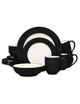 Noritake® Colorwave Rim 16 Piece Dinnerware Set In Graphite by Bed Bath And Beyond