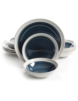 Gibson Elite Clementine 12 Piece Dinnerware Set In Blue/White by Bed Bath And Beyond