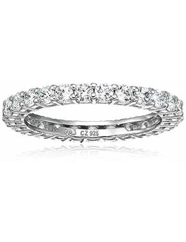 Amazon Essentials Plated Sterling Silver Round Cut Cubic Zirconia All Around Band Ring by Amazon Essentials