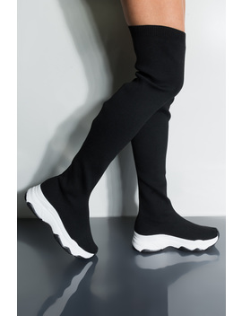 Own The Game Flat Over The Knee Sneaker Boot by Akira