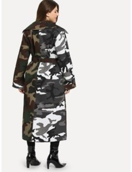 Plus Camo Print Cut And Sew Outerwear by Sheinside