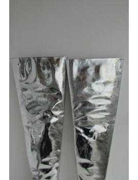 Balenciaga Mirrored Silver Over The Knee Boots Thigh High Demna Gvasalia Auth 38 by Ebay Seller