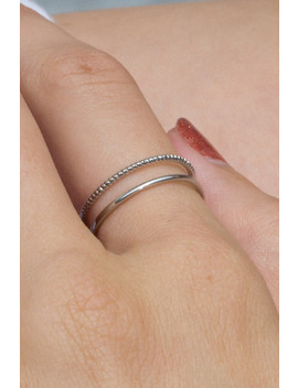 Silver Double Band Ring by Brandy Melville